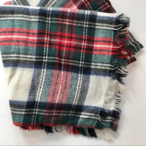 fae3f06dc8b66 ASOS Accessories | Plaid Blanket Scarf White Blue Green Red | Poshmark